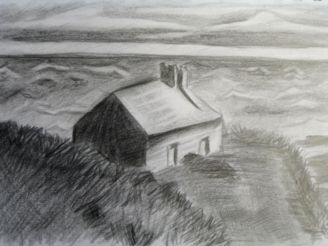 Advanced Studio Gr.10 – Landscape Study Using Charcoal and Ebony Pencil (taught by Ms. Jackie LaBelle)